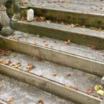 Herbstlaub auf Treppe