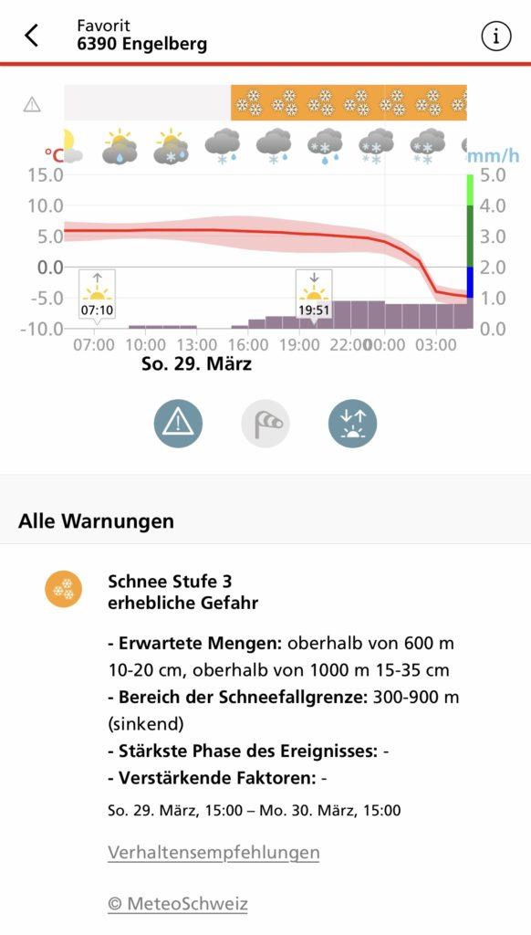 Schneewarnung für Engelberg