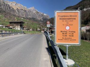 Pragelpass-Strasse Sperrung